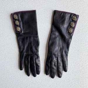 Coach Black Leather Turnlock Gloves Cashmere Lined